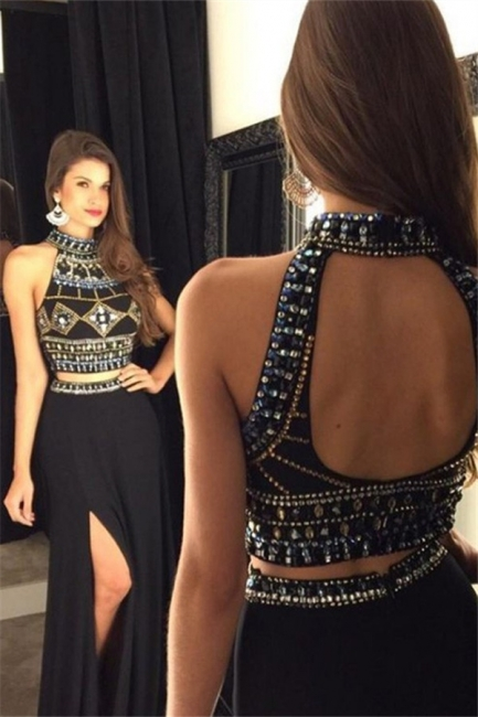 Black Open Back Beads Prom Dresses|Two Piece Side-Slit Sexy Evening Dresses