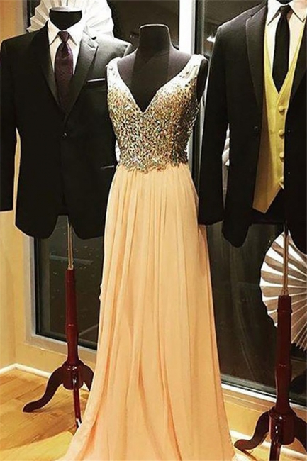 V-Neck Crystal Tulle Prom Dresses Sleeveless Popular Cheap Sexy Evening Dresses