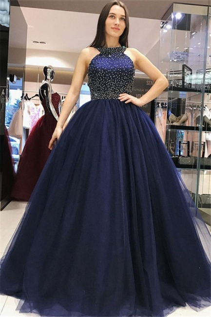 Chic Halter Crystal Bow-knot Open Back Prom Dresses Ball Gown Sleeveless Sexy Evening Dresses