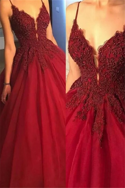 Gorgeous Spaghetti Strap Beads Prom Dresses Red Lace Ball Gown Sexy Evening Dresses