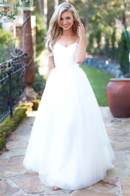 Gorgeous Simple Spaghetti-Strap Prom Dresses Sheer Cheap Backless Sleeveless Sexy Evening Dresses