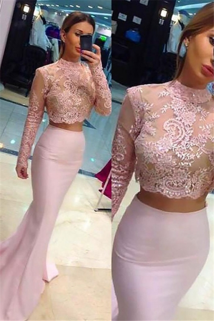 Chic High Neck Applique Long Sleeves Prom Dresses Mermaid Pink Lace Two Piece Sexy Evening Dresses