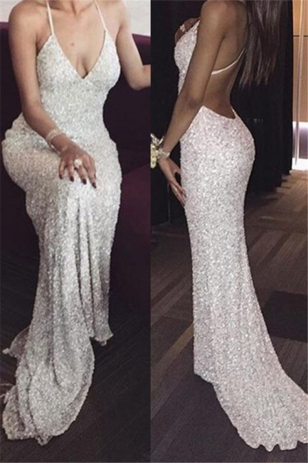 Sequins Halter Prom Dresses Backless Mermaid Sleeveless Sexy Evening Dresses