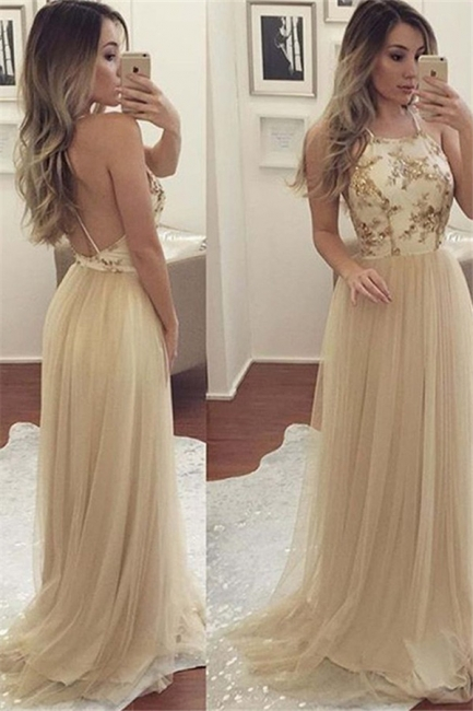 Chic Halter Applique Open Back Prom Dresses Sleeveless Sexy Evening Dresses with Crystal