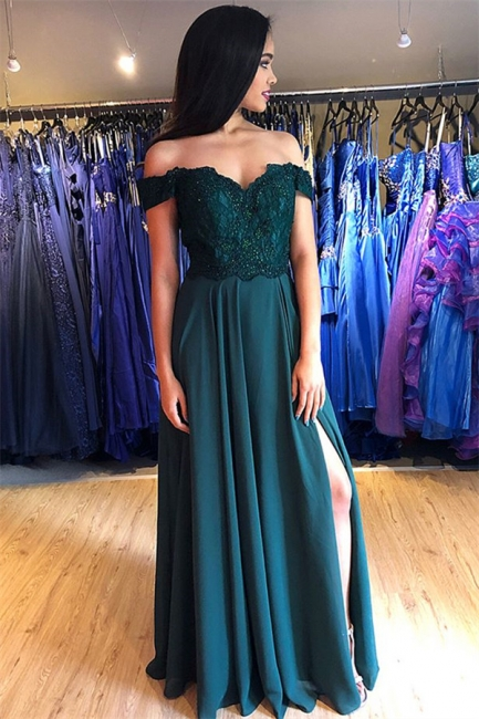 Chic Off-the-Shoulder Applique Prom Dresses Side Slit Sleeveless Sexy Evening Dresses with Beads