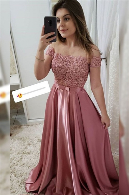 Applique Off-the-Shoulder Prom Dresses Beads Sleeveless Sexy Evening Dresses with Bow-knot Belt