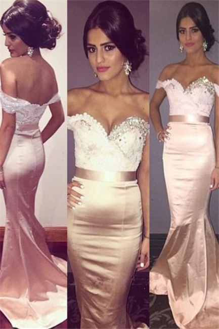 Chic Off-the-Shoulder Crystal Prom Dresses Lace Mermaid Sleeveless Sexy Evening Dresses with Belt