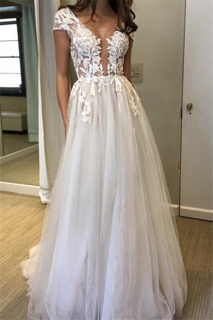 V-Neck Applique Prom Dresses Sheer Sleeveless Sexy Evening Dresses