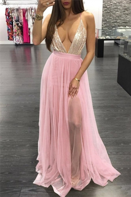 Glamorous Sequins Halter Applique Prom Dresses Lace-Up Side slit Sleeveless Sexy Evening Dresses