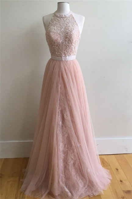 Chic Applique Overskirt halter Prom Dresses Sleeveless Sexy Evening Dresses with Beads