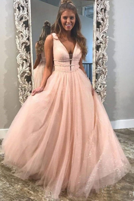 Gorgeous Sequins Straps Tulle Prom Dresses | Ball Gown Sleeveless Sexy Evening Dresses with Beads