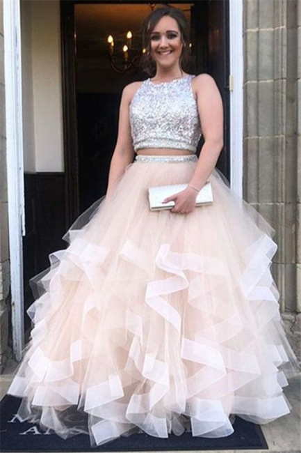 Sequins Jewel Sheer Prom Dresses Two Piece  Sleeveless Sexy Evening Dresses