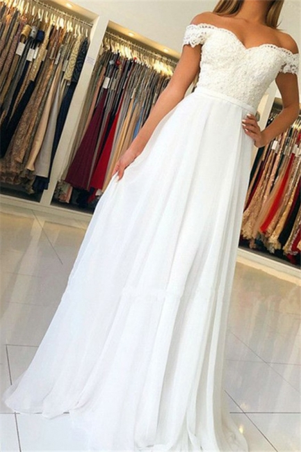 Chic Off-the-Shoulder Applique Prom Dresses Open Back Sleeveless Sexy Evening Dresses with Belt