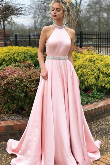 Chic Pink Halter Crystal Open Back Prom Dresses Sleeveless Ruffles Sexy Evening Dresses with Belt