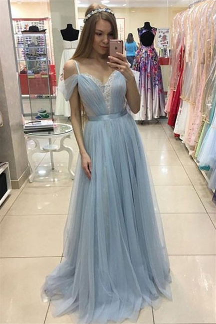 Spaghetti Strap Applique Sleeveless Prom Dresses Tulle Cheap Sexy Evening Dresses with Belt