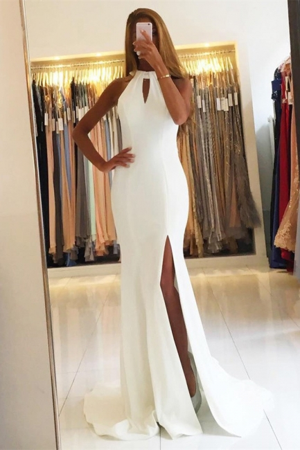Simple Halter Mermaid Evening Dresses Open Back Side Slit Prom Dresses Sleeveless qq0381