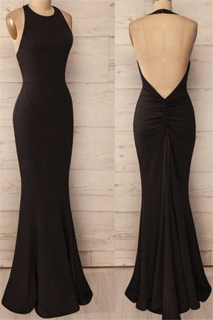 Black Halter Ruffles Prom Dresses Open Back Mermaid Sleeveless Sexy Evening Dresses