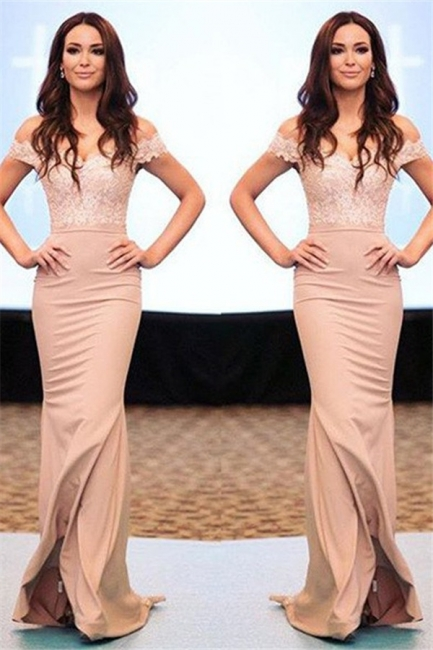 Lace Off-the-Shoulder Prom Dresses Cheap Mermaid Sexy Evening Dresses