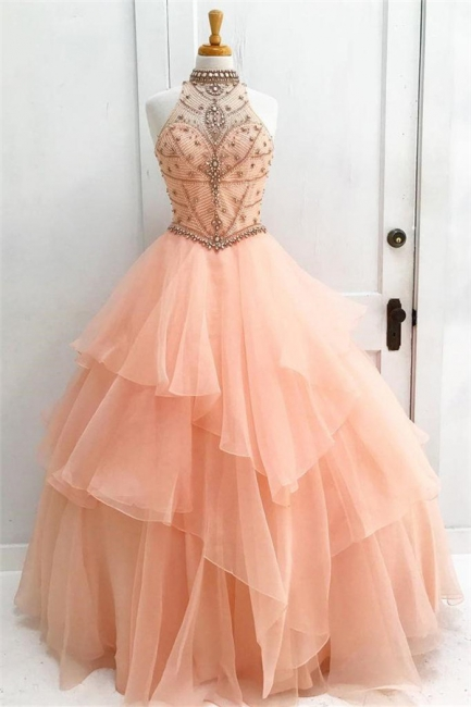 Chic Crystal Halter Applique Prom Dresses Keyhole Ball Gown Sleeveless Sexy Evening Dresses with Beads