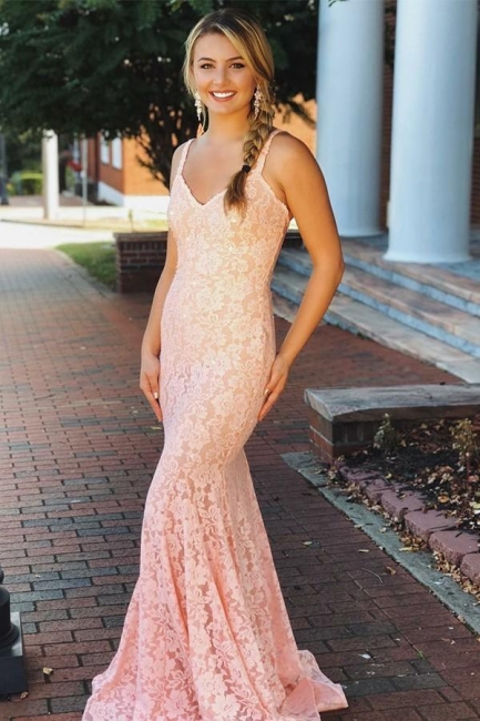Romactic Pink Lace Straps Prom Dresses Sleeveless Backless Mermaid Sexy Evening Dresses Cheap Dresses