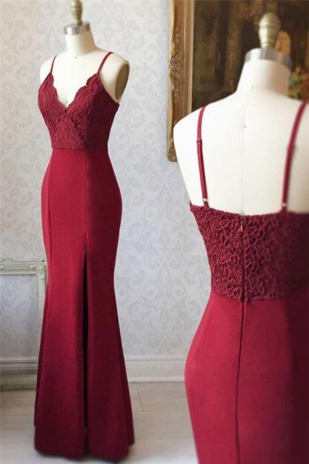 Applique Spaghetti-Strap Prom Dresses Side slit Mermaid Sleeveless Sexy Evening Dresses