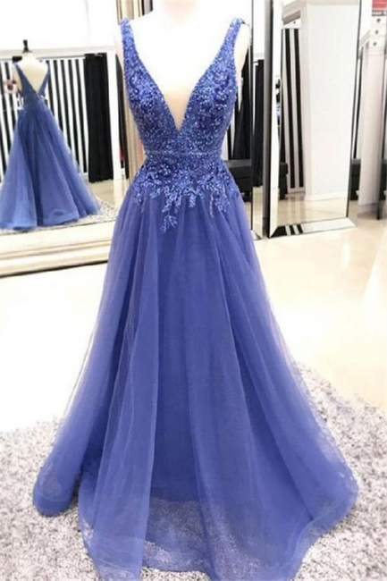 Applique V-neck Beads Sleeveless Prom Dresses Tulle Cheap Sexy Evening Dresses