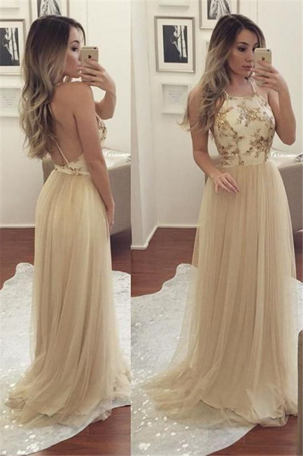 Glamorous Halter Sequins Applique Prom Dresses Backless Sheer Sleeveless Sexy Evening Dresses