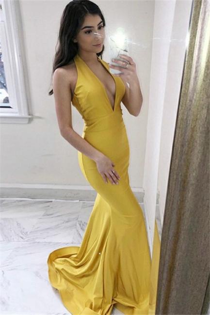 Charming Yellow Sleeveless Prom Dresses Mermaid Cheap Popular Sexy Evening Dresses