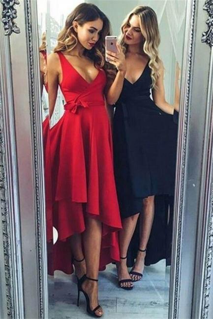 Chic Bowknot V-Neck Prom Dresses Hi-Lo Ruffles Sleeveless Sexy Evening Dresses