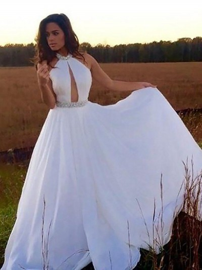 Chic Halter Crystal Prom Dresses Sleeveless keyhole Sexy Evening Dresses Cheap