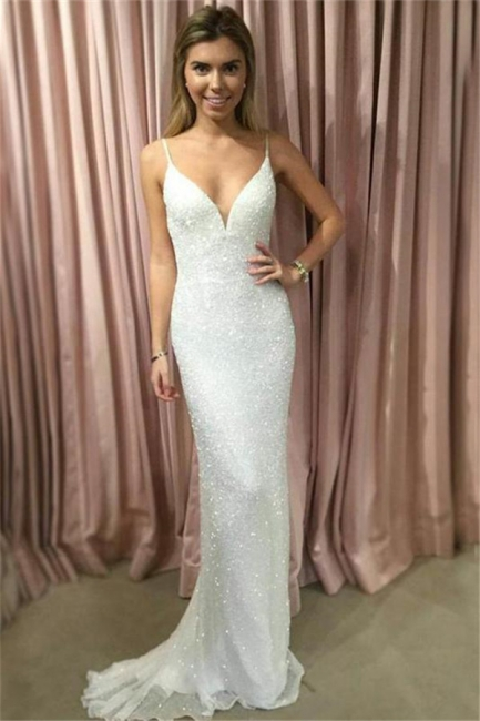 Chic Sequin Straps Applique Prom Dresses Tulle Mermaid Sleeveless Sexy Evening Dresses