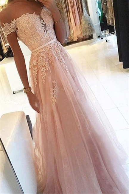 Pink Off-the-Shoulder Applique Prom Dresses Tulle Sleeveless Cheap Sexy Evening Dresses