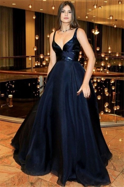 Black Spaghetti Strap Prom Dresses Sleeveless Cheap Tulle Sexy Evening Dresses