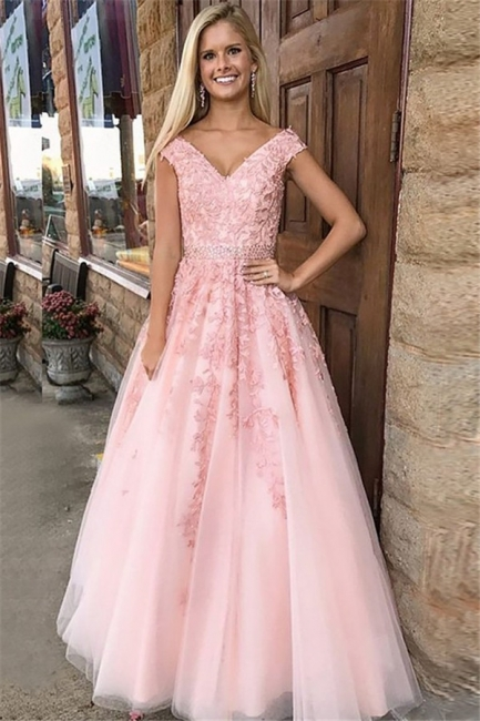 Romactic Pink Off-the-Shoulder Prom Dresses Applique Crystal Sleeveless Sexy Evening Dresses with Belt