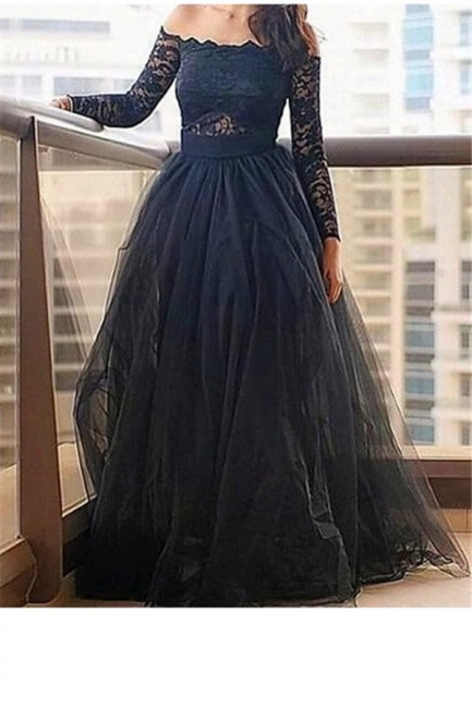 Black Long Sleeves Lace Bateau Prom Dresses Tulle Cheap Sexy Evening Dresses with Belt