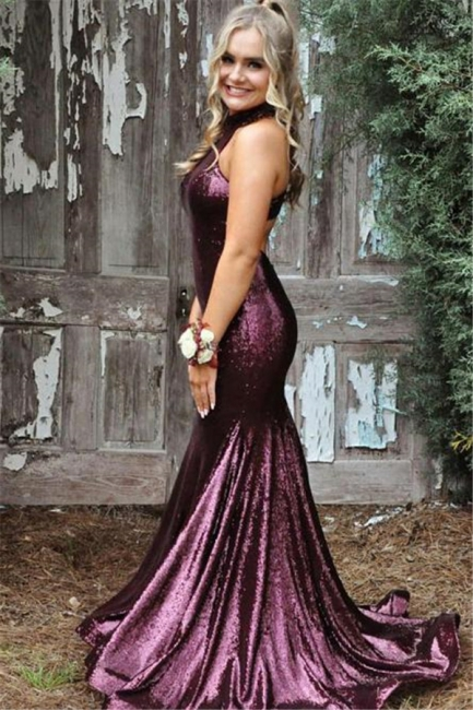 Sequin Halter Ruffles Prom Dresses Side slit Mermaid Sleeveless Sexy Evening Dresses