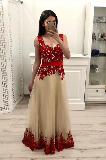 Chic Applique Straps Prom Dresses Sleeveless Sexy Evening Dresses with Ribbons