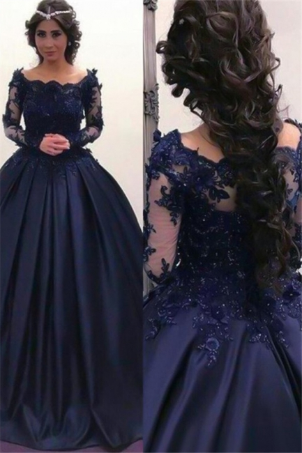 Lace Applique Bateau Long Sleeves Prom Dresses Ball Gown Sexy Evening Dresses with Beads