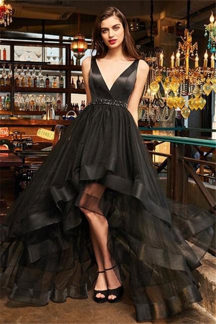 Black V-Neck Ruffles Crystal Prom Dresses Hi-Lo Open Back Sleeveless Sexy Evening Dresses