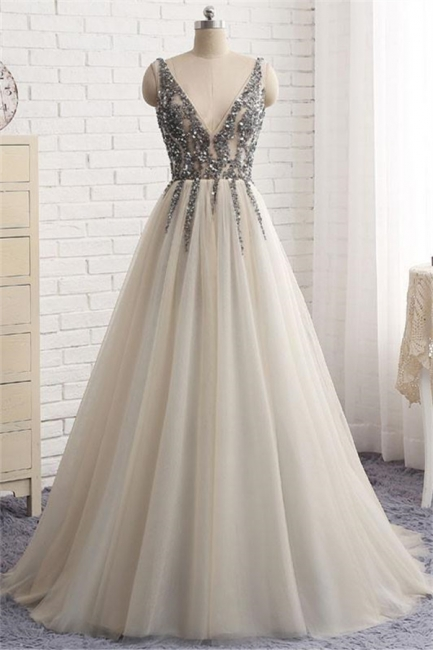 Glamorous V-Neck Crystal Applique Prom Dresses Side slit Backless Sleeveless Sexy Evening Dresses