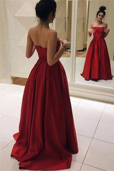Red Sweetheart Ruffles Prom Dresses Sleeveless Ball Gown Sexy Evening Dresses Cheap