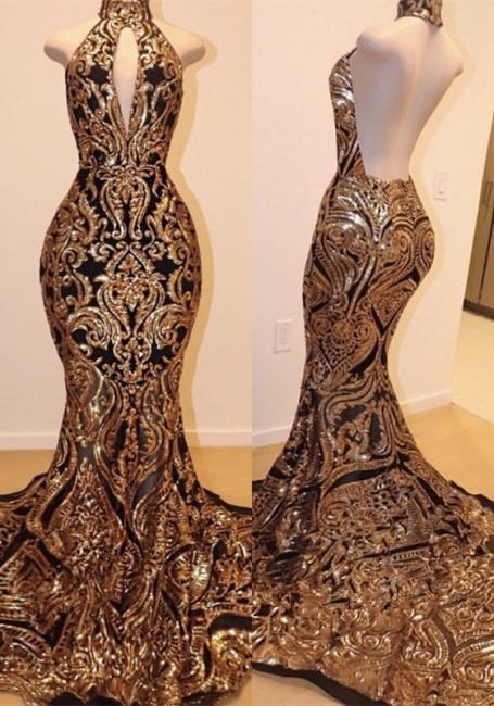 High Keyhole Neckline Backless Prom Dress | Luxury Black Gold Evening Dresses