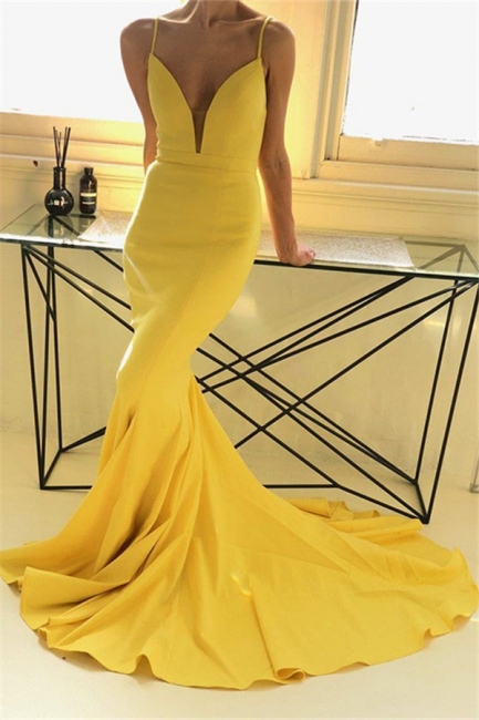 Charming yellow Spaghetti Strap Prom Dresses Sleeveless Mermaid Open Back Sexy Evening Dresses