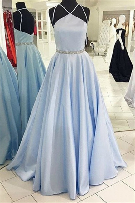 Chic Halter Beads Prom Dresses Cheap Open Back  Sexy Evening Dresses with Belt
