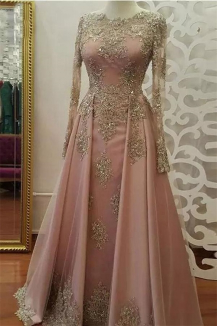 Chic Applique Crystal Jewel Prom Dresses Side slit Longsleeves Sexy Evening Dresses with Beads