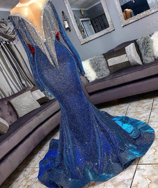 Luxury Navy Blue Long Sleeve Mermaid Prom Dresses | Sequines See Through Neckline Evening Dresses