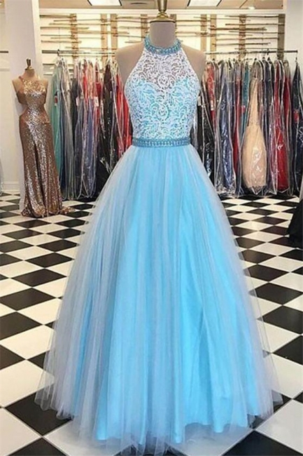 Chic Applique Halter Prom Dresses Sheer Sleeveless Sexy Evening Dresses with Ribbons