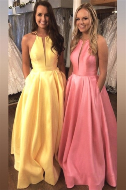 Gorgeous Halter Ruffles Prom Dresses Sleeveless Sexy Evening Dresses with Pocket Cheap
