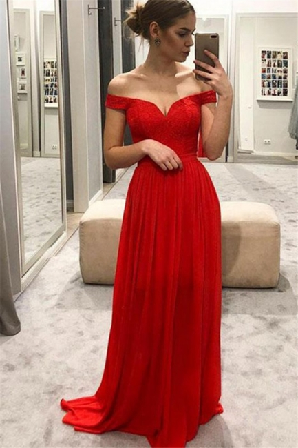 Red Off-the-Shoulder Lace Prom Dresses Cheap Sleeveless Sexy Evening Dresses