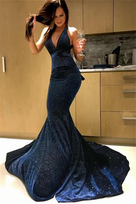 Chic Halter Sequins Mermaid Prom Dresses Sleeveless Sexy Evening Dresses Cheap
